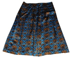 DKNY City & Silk Blend Fully Lined New With Tags Skirt Teal & Brown Geometric Print