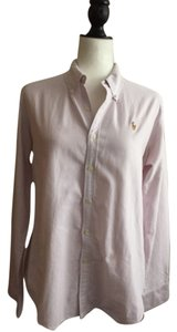 Ralph Lauren Button Down Shirt White with light purple stripes