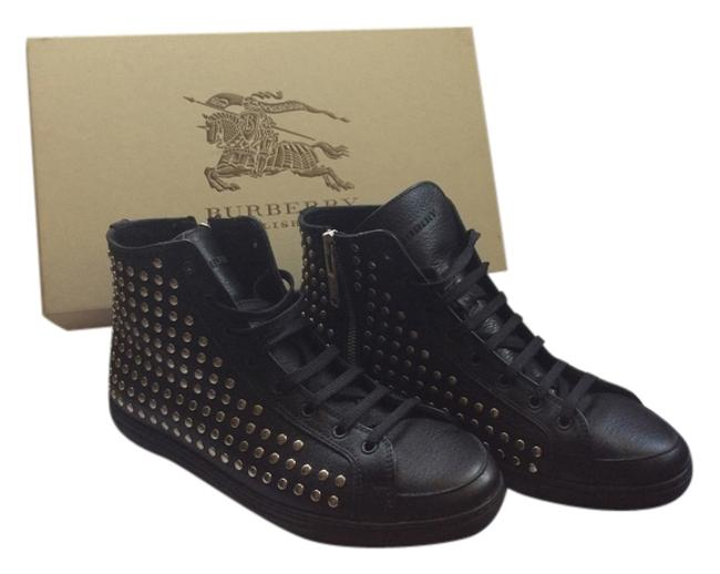 Item - Black with Silver Studds High Top Fashion Cattell Blackleather 37 Sneakers Size US 7 Regular (M, B)