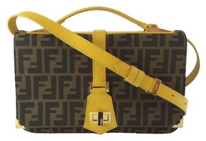 Fendi Jacquard Yellow Ocra Brown Tobacco Leather Trim Shoulder Bag