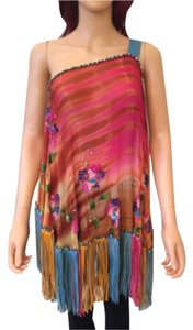 Falguni & Shane Peacock Couture Poncho Bohemian Boho Chic Coachella Top Pink/Turquoise/Gold Leather Fringe