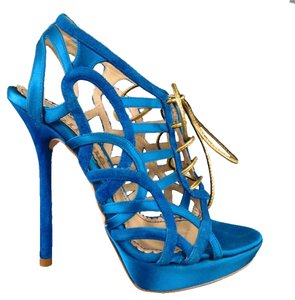 John Galliano Suede Silk Jewel Tone Platform Gold Blue Sandals
