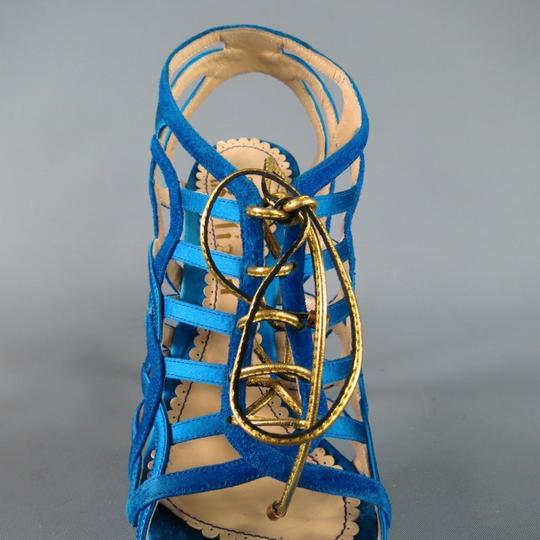 John Galliano Suede Silk Jewel Tone Platform Gold Blue Sandals Image 1