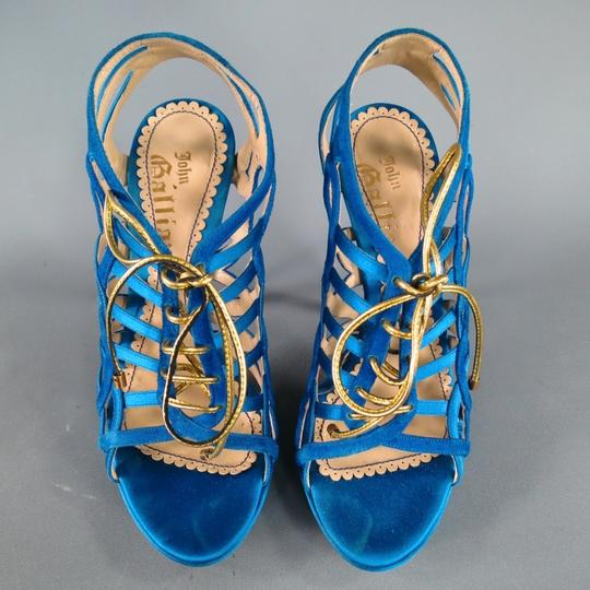 John Galliano Suede Silk Jewel Tone Platform Gold Blue Sandals Image 2