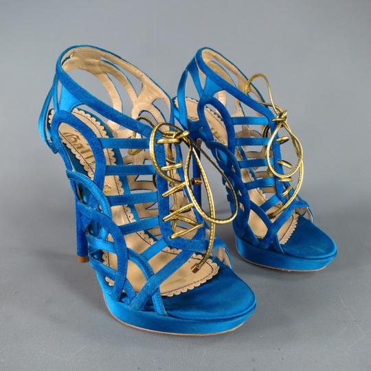 John Galliano Suede Silk Jewel Tone Platform Gold Blue Sandals Image 3