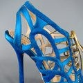 John Galliano Suede Silk Jewel Tone Platform Gold Blue Sandals Image 4