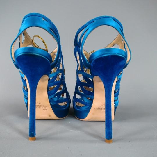 John Galliano Suede Silk Jewel Tone Platform Gold Blue Sandals Image 5