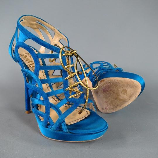 John Galliano Suede Silk Jewel Tone Platform Gold Blue Sandals Image 6