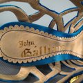 John Galliano Suede Silk Jewel Tone Platform Gold Blue Sandals Image 7