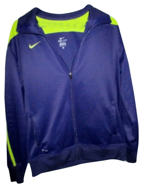 Item - Dark Purple/Lime Green Basketball Dri Fit Zip Up Athletic Activewear Outerwear Size 16 (XL, Plus 0x)