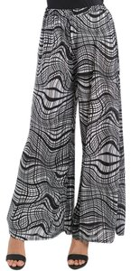 Moda International Palazzo New Wide Leg Pants BLACK-WHITE