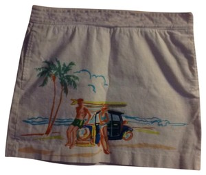 J.Crew Tropical Pockets Resort Wear Skirt White and multi color