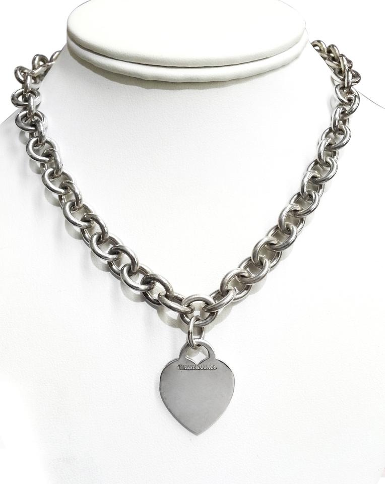 a19f76780 Tiffany & Co. Tiffany & Co Sterling Silver Necklace with Heart Charm Image  0 ...