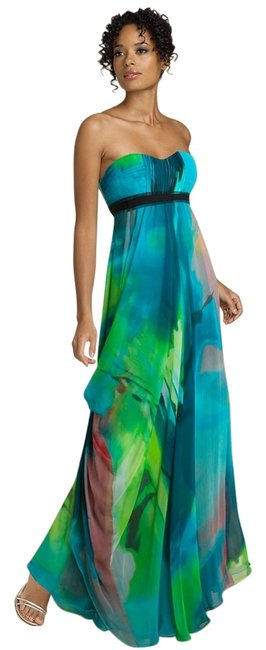 Item - Green Strapless Crinkle Chiffon Gown Long Cocktail Dress Size 4 (S)