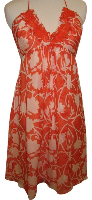 Orange & White Floral Maxi Dress by MILLY Halter