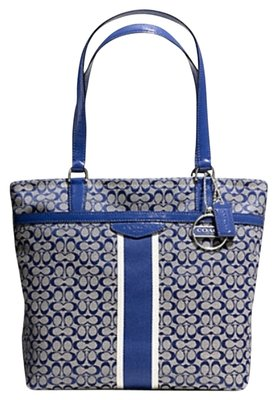 Coach Blue And White Tote Bag