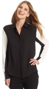 Vince Camuto High-low Asymmetrical Colorblock Contrast Shirt Button Up Top