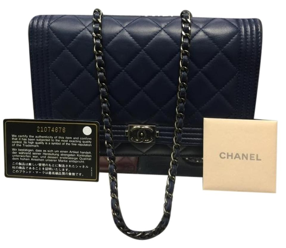 d0d668aa60e9 Chanel Wallet on Chain Clutch Boy Le Woc Navy Blue Lambskin Leather ...