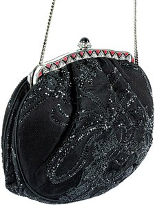 Judith Leiber Satin Beaded Evening Silver Hardware Party Crystal Black Clutch