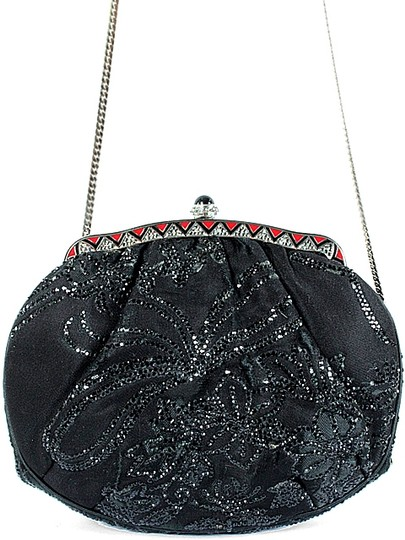 Judith Leiber Satin Beaded Evening Silver Hardware Party Crystal Black Clutch Image 1
