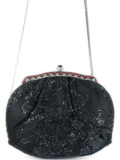 Judith Leiber Satin Beaded Evening Silver Hardware Party Crystal Black Clutch Image 4