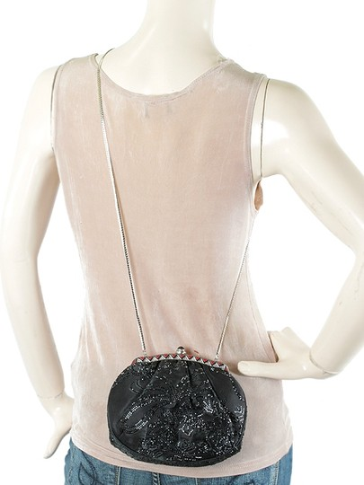 Judith Leiber Satin Beaded Evening Silver Hardware Party Crystal Black Clutch Image 5