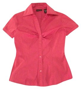 New York & Company Collared Shirt Fitted Button Down Shirt Fuchsia