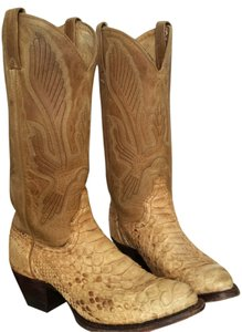J Chisholm Cowboy Size 7 Leather Snakeskin Python Natural Gold Toned Boots