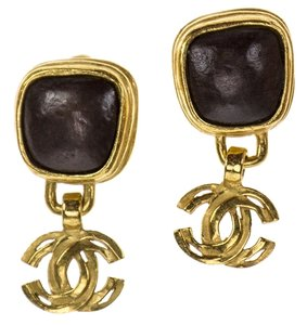 Chanel Chanel Vintage Brown Stone CC Logo Clip On Earrings