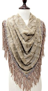 Other Boho Tribal Chic Neutral Fur Fringe Scarf