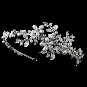 Elegance By Carbonneau Ivory Pearl And Rhinestone Leaf Wedding Headband