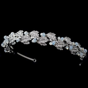 Elegance By Carbonneau Rhodium Bridal Leaf Headband With Opal Accents