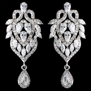 Elegance By Carbonneau Elegant Marquise And Teardrop Cz Wedding Earrings