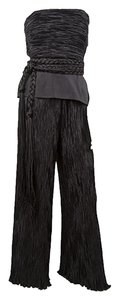 Mary McFadden Ruched Strapless Top and Pant Set with Braided Belt