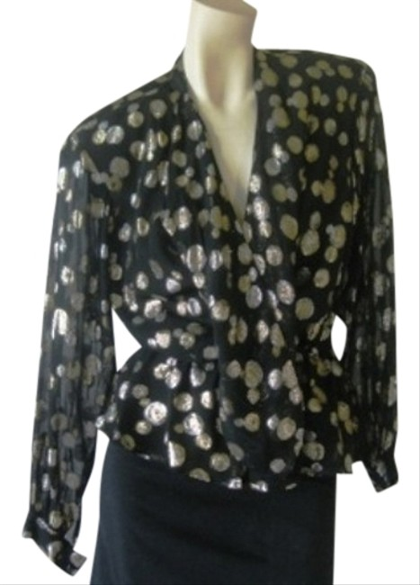 Halston III Top Black, Golden & Silver