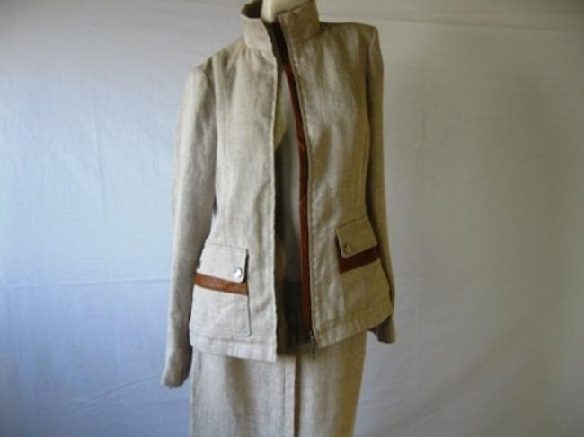 Adrienne Vittadini Adrienne Vittadini Italian Linen Suit Natural w/Leather Details Size 2/4
