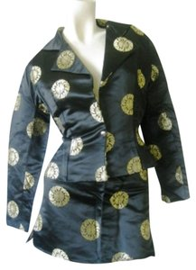 Shkank Shkank Authentic Chinese Style Evening Mini Suit Black and Gold Silk Size 1