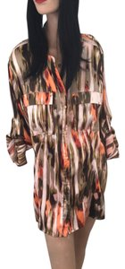 Calvin Klein Fall Shirt-dress Shirt Top Orange Moss Green Light Pink