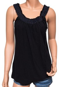 BCBGMAXAZRIA Pima Unique Drawstring Neck Top Black