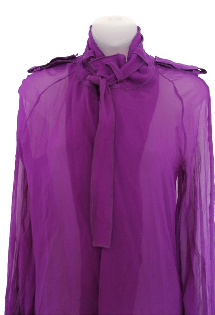 Item - Purple Sheer Blouse Button-down Top Size 6 (S)