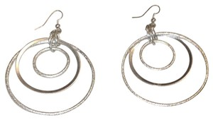 Sparkly silver three layer hoop earrings