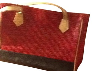 Roberto Vascon Tote in Black Red And Taupe