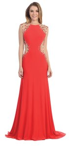 Black, Coral Floor Length Mesh Rhinestones Bodice Formal Dress Dress