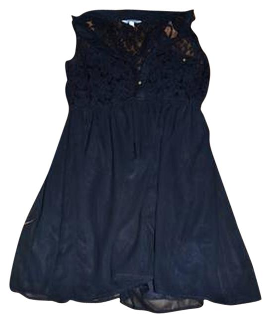 Item - Black Lace Sheer Above Knee Short Casual Dress Size 12 (L)