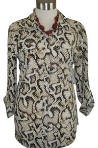 J M COLLECTION Size 20w Linen Top ANIMAL PRINT