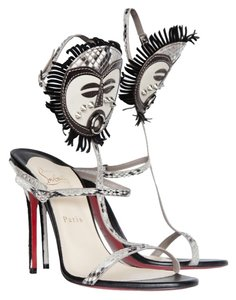 Christian Louboutin Red Bottoms Black and Silver Sandals