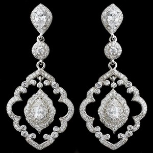 Elegance By Carbonneau Ornate Vintage Look Cz Wedding Earrings