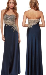 Navy Floor Length Mesh Rhinestones Bodice Asymmetric Formal Dress