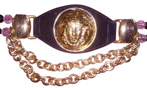 Cache Cache Black suede Leather Belt with Gold Medusa head and Hardware