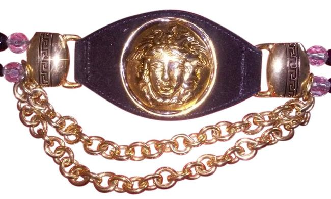 Item - Black / Gold Suede Leather with Medusa Head and Hardware Belt
